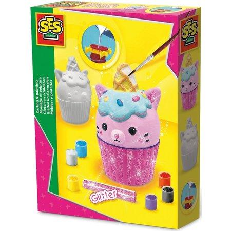SES Figuren gieten en schilderen SES: cupcake kat