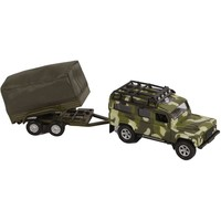 Auto Kids Globe Landrover en aanhanger military