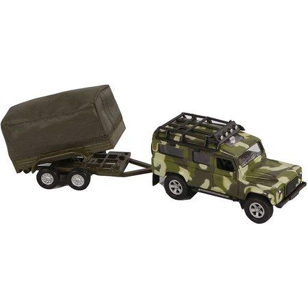Kids Globe Auto Kids Globe Landrover en aanhanger military