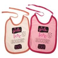 Slabbetjes ajax 2-pack roze: girls love soccer