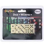 Eddy Toys Dobbelstenen wit: 10 stuks