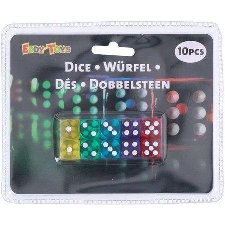 Eddy Toys Dobbelstenen gekleurd: 10 stuks