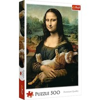 Puzzel Mona Lisa met Kat: 500 stukjes