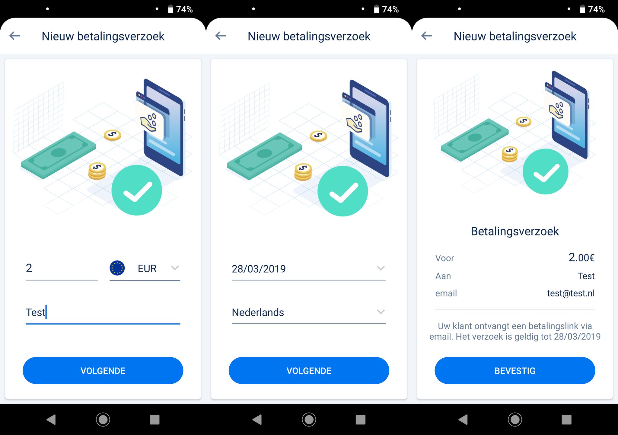 Betalingsverzoek afronden in de myPOS app