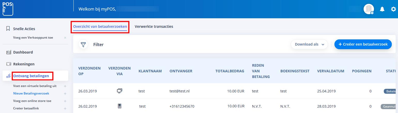 payment request aanmaken