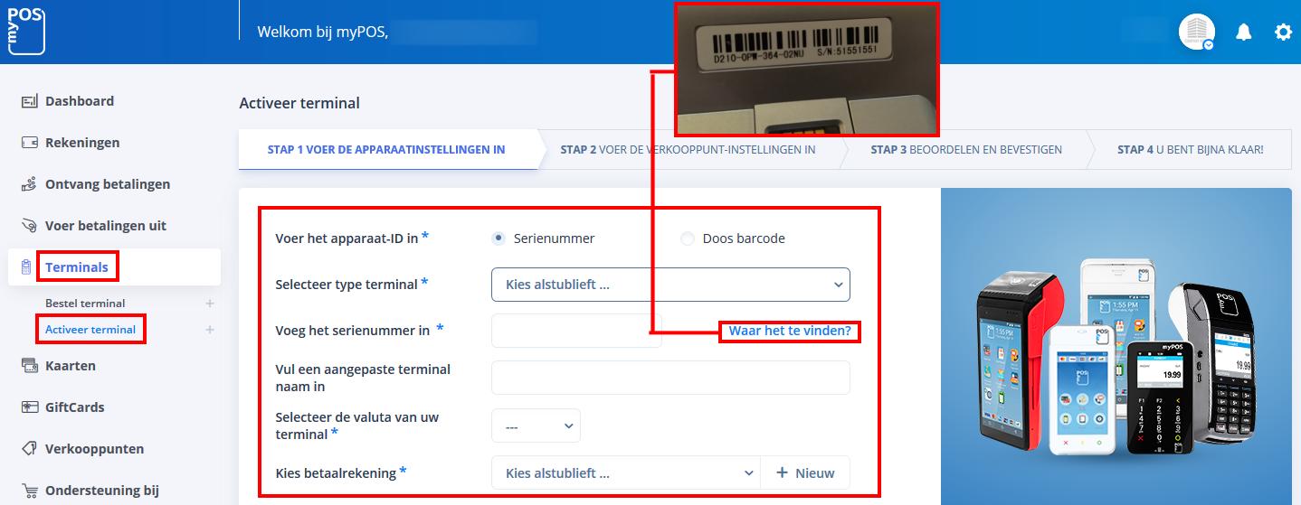 myPOS account - activeren van uw betaalautomaat