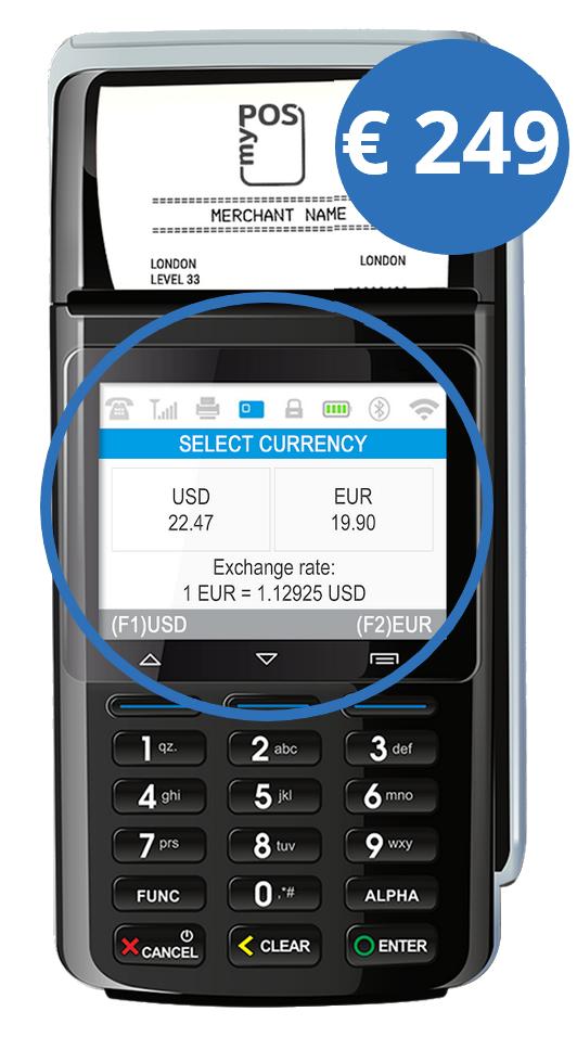 Standaard DCC ondersteuning: niet-euro klanten krijgen het bedrag in hun eigen valuta te zien.