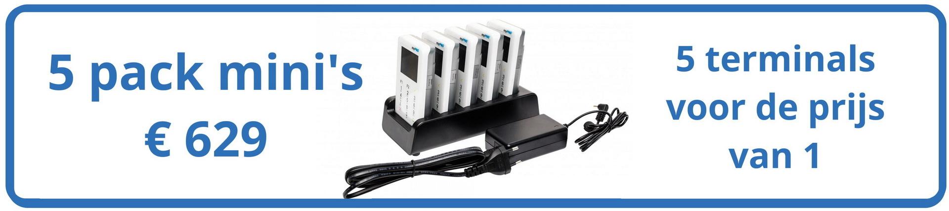 Vijf betaalterminals voor de prijs van 1 CCV of Worldline pinapparaat