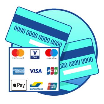 De pinpassen van Maestro, VPAY, Bancontant maar ook de creditcards van MasterCard, Visa, American Express, JCB, (China) Union Pay en Apple Pay