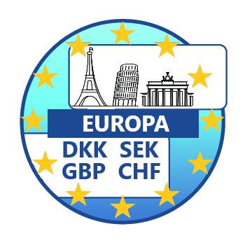 Accepteer in alle Europese valuta's zoals DKK, SEK, NOK, GBP, CHF. Standaard DCC. Uitbetaling in meerdere valuta mogelijk.
