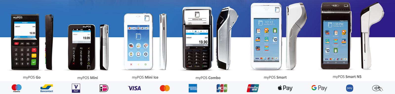 Alle myPOS betaalterminals: GO pinapparaat, Combo betaalterminal, mini betaalautomaat, Smart betaalautomaten en de mini ICE pinapparaten