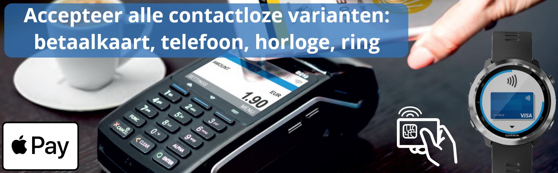 Contactloos NFC betalen op myPOS betaalterminal met PIN, creditcard en mobiel