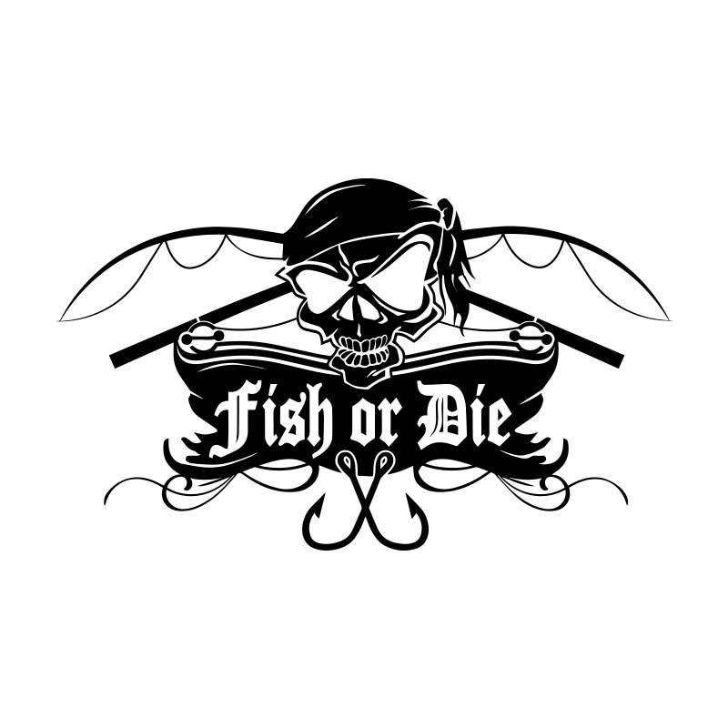 Fish or Die® corte la etiqueta engomada