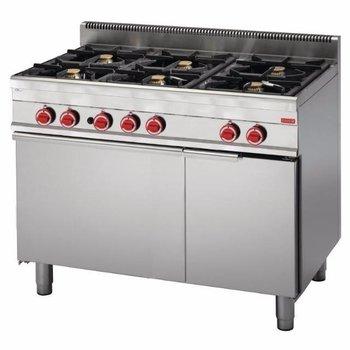Gasfornuis Gastro M 650 - 6 branders - met oven - aardgas