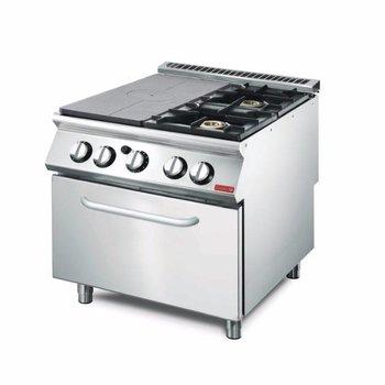 Gasfornuis Gastro M 700 - met plaat en 2 branders - met oven - aardgas