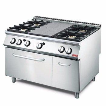 Gasfornuis Gastro M 700 - met plaat en 4 branders - met oven - aardgas