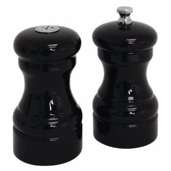 Houten peper en zout setje - zwart