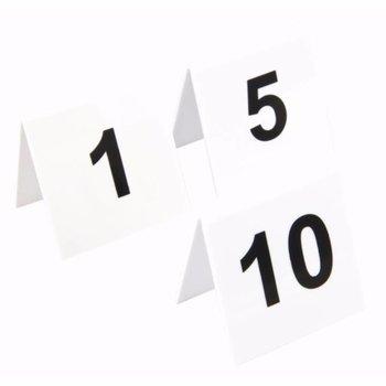 Tafelnummers - wit kunststof - 1 tot 10