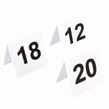 Tafelnummers - wit kunststof - 11 tot 20
