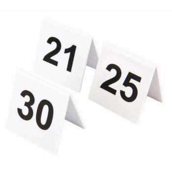 Tafelnummers - wit kunststof - 21 tot 30