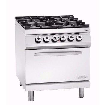 Gasfornuis Bartscher 900 master - 4 pits - met 2/1GN elektrisch oven - aardgas