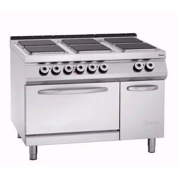 Elektrisch fornuis Bartscher 900 master - 6 platen - met 2/1GN oven en kast