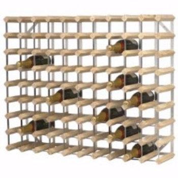 Wijnrek hout en metaal - 90 flessen