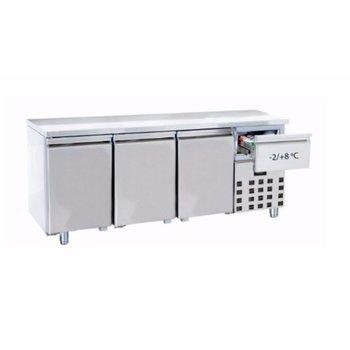 Koelwerkbank met extra lade | 3 deurs | 474L | (H)85x(B)186,5x(D)70