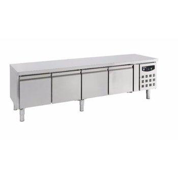 Lage koelwerkbank | 4 deurs | 420L | (H)65x(B)223x(D)70