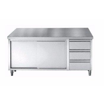 Werktafel RVS met deuren en 3 lades | Chef Line | (H)85/90x(B)180x(D)70