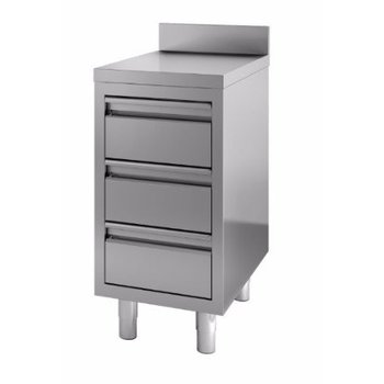 Werktafel RVS | achteropstand | | 3 lades | (H)85x(B)40x(D)70