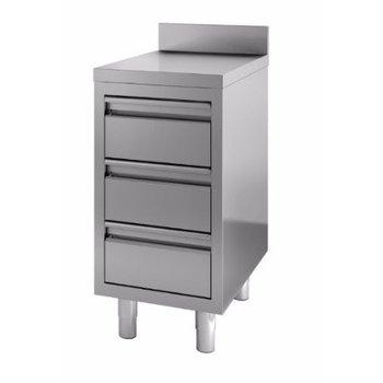 Werktafel RVS | achteropstand | | 3 lades | (H)85x(B)60x(D)70
