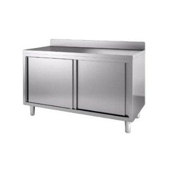 Werktafel met deuren en achteropstand | Chef Line | (H)85x(B)200x(D)60