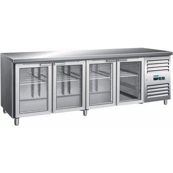 Geventileerde koelwerkbank | 4 glazen deuren | (H)89/95x(B)223x(D)70
