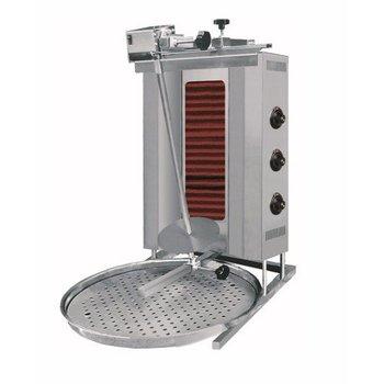 Döner kebab grill | Motor boven | Elektra | 60kg vlees | 3 branders