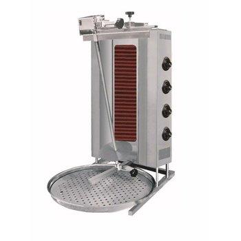 Döner kebab grill | Motor boven | Elektra | 80kg vlees | 4 branders