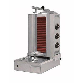 Döner kebab grill | Motor onder | Elektra | 60kg vlees | 3 branders