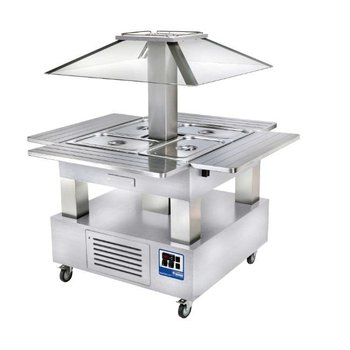 Bain marie eiland - 4x 1/1 GN 150mm - Wit hout