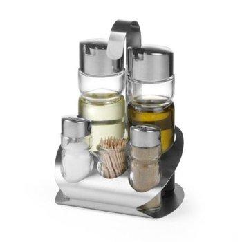 Menage 5-delig - peper - zout - olie - azijn - tandenstoker