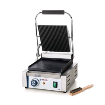 Contactgrill enkel | gegroefd/glad | 1,8kW | (H)21x(B)29x(D)37