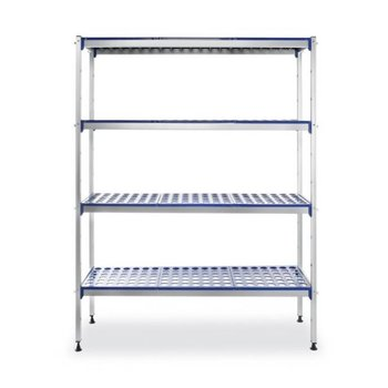 Aluminium opbergrek - polypropeen planken - (H)168,5x(B)128x(D)40,5