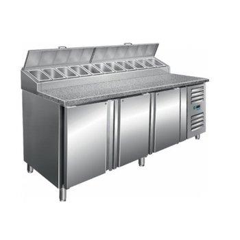 Pizza koelwerkbank | SH2000 | 3 deurs 60x40cm | 11/3GN | (H)108/114x(B)200x(D)85