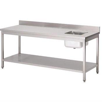 Werktafel RVS met spoelbak - onderschap en spatrand - Gastro M - 85(H)x180x70cm