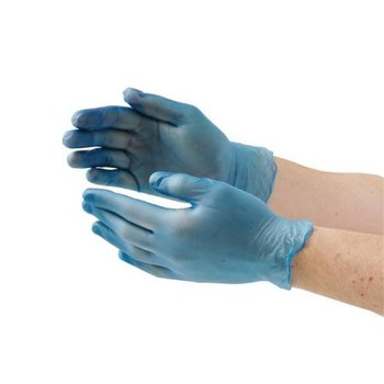 Vinyl handschoenen - blauw poeder vrij size XL - 100 stuks