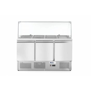 Saladette met glazen vitrine | 3 Deurs | 4X 1/1GN | (H)130x(B)136,5x(D)70