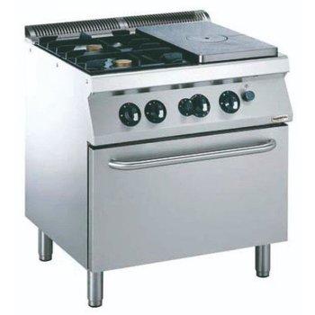 Kookplaatfornuis met 2 branders | met gasoven | (H)85x(B)80x(D)70