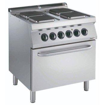 Elektrisch fornuis met elektrische oven | 4 pits vierkant | 23x23cm
