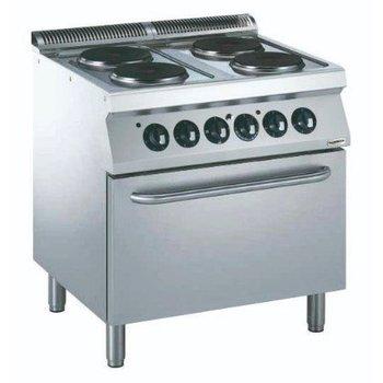 Elektrisch fornuis met elektrische oven | 4 pits rond | Ø23cm