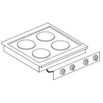 Elektrische kookunit | Drop-In | 2x2,6kW+2x1,5kW