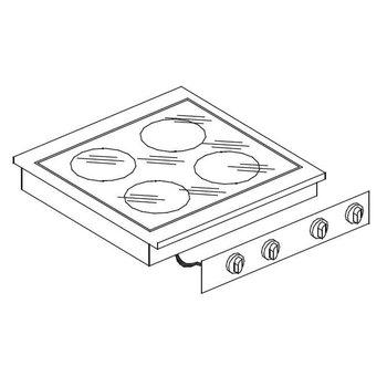 Keramische kookunit | Drop-In | 2x2,4kW+1x1,8kW+1x1,2kW